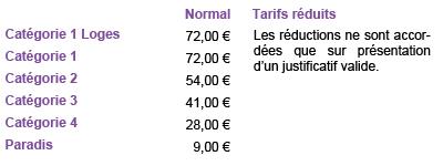 Tarifs La traviata